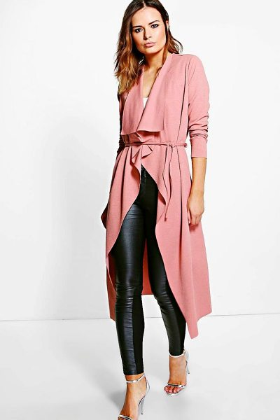 Boohoo Molly Belted Midi Duster in khaki - Wrap up in the latest coats and jackets and get...