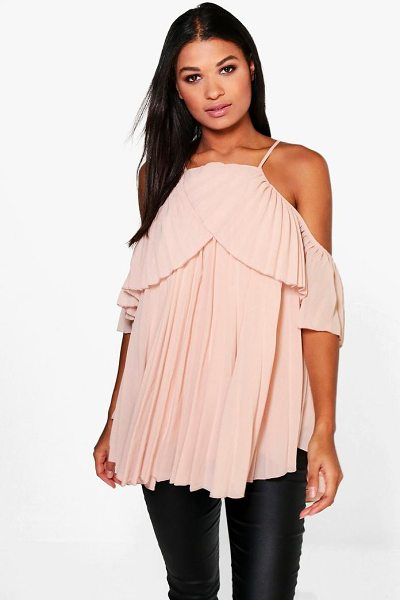Boohoo Cold Shoulder Pleated Ruffle Top in nude - Steal the style top spot in a statement separate from...