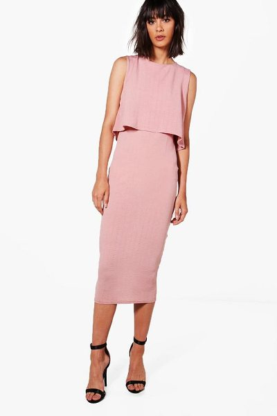 Boohoo Crinkle Double Layer Dress in nude - Dresses are the most-wanted wardrobe item for...