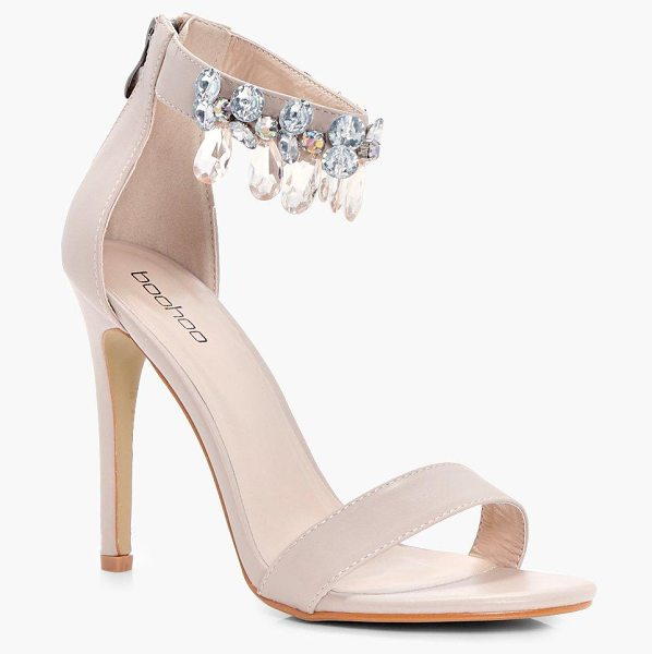 Boohoo Embellished Ankle Band 2 Part Heels in nude