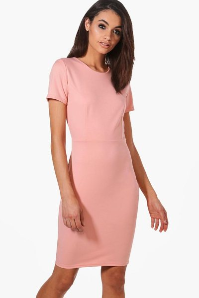 Boohoo Molly Fitted Tailored Scuba Dress in nude - Dresses are the most-wanted wardrobe item for...