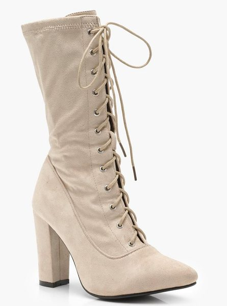 BOOHOO Lace Up Block Heel Sock Boots in beige - We'll make sure your shoes keep you one stylish step...