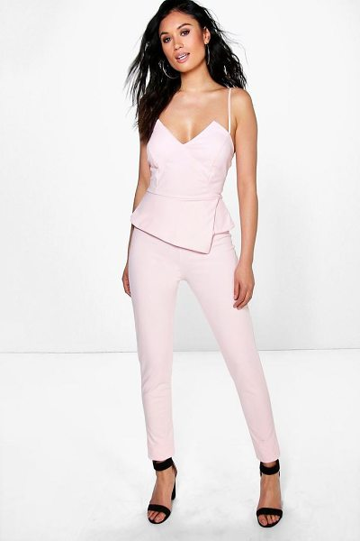 Boohoo Peplum Style Skinny Leg Jumpsuit in blush - Jump start your new season wardrobe with the always chic...