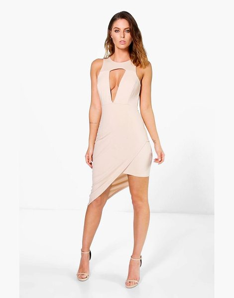 Boohoo Montana Cut Out Detail Asymmetric Bodycon Dress in taupe - Get dance floor-ready in an entrance-making evening...