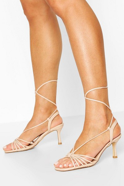 Boohoo Multi Strap Low Heel Sandals in nude