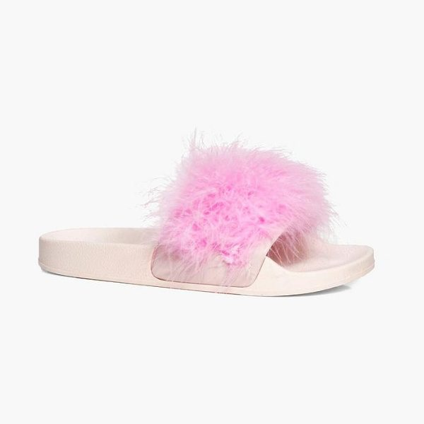 Boohoo Mya Feather Trim Slider in baby pink - We'll make sure your shoes keep you one stylish step...