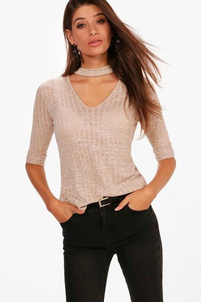 Boohoo Rib Knit Choker Jumper in stone