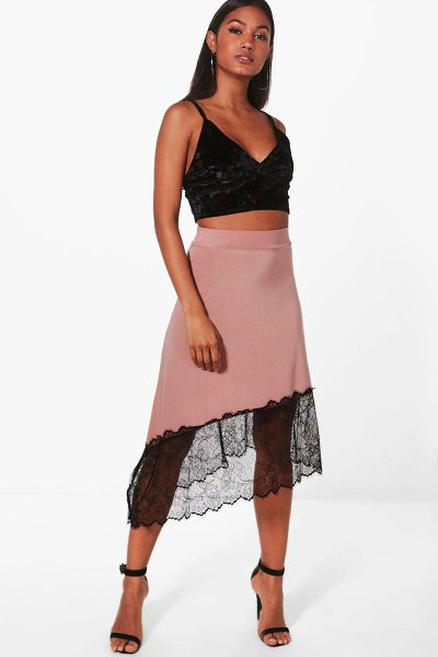 Boohoo Nadina Eyelash Lace Trim Midi Skirt in dusky pink - Skirts are the statement separate in every wardrobe This...