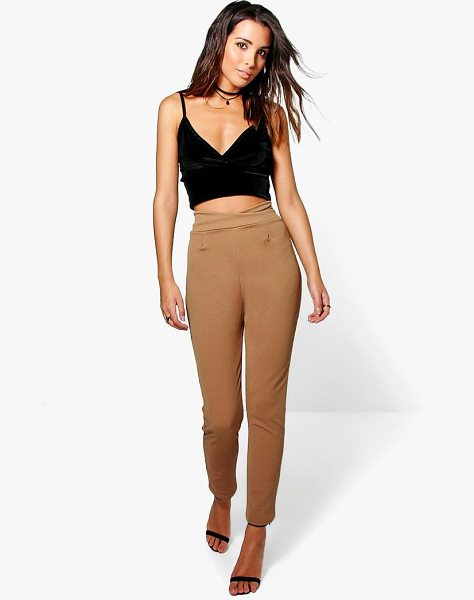 Boohoo High Waist Crepe Skinny Stretch Pants in camel - Trousers are a more sophisticated alternative to...