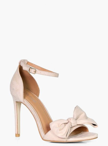 Boohoo Naomi Bow Detail Two Part Heel in nude - We'll make sure your shoes keep you one stylish step...