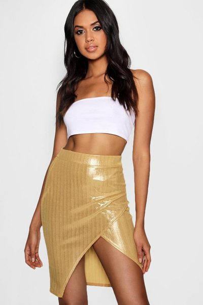 Boohoo Metallic Wrap Mini Skirt in gold - Skirts are the statement separate in every wardrobe This...
