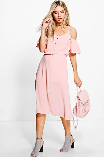 BOOHOO Naomi Woven Cold Shoulder Midi Dress - Pared back day dresses are the perfect base for layering...