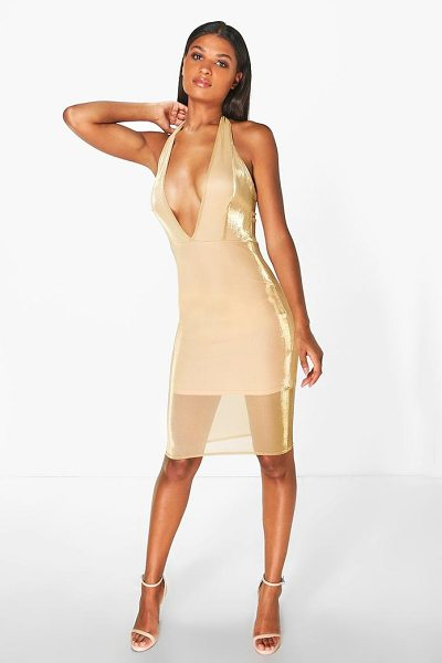 Boohoo Natalia Halterneck Metallic Midi Dress in gold - Dresses are the most-wanted wardrobe item for...