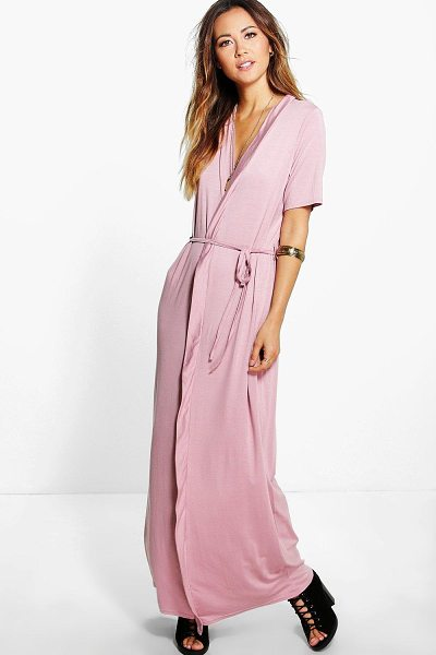 Boohoo Natalia Wrap Front Belted Maxi Dress in nude - Natalia Wrap Front Belted Maxi Dress nude