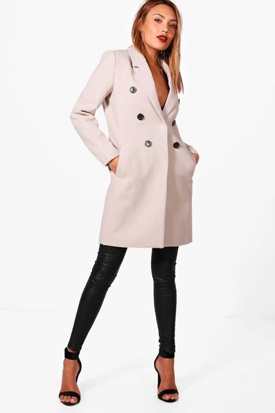 Boohoo Double Breasted Wool Look Coat in stone