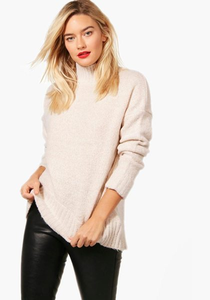 Boohoo Natalie Soft Knit Funnel Neck Jumper in nude - Nail new season knitwear in the jumpers and cardigans...