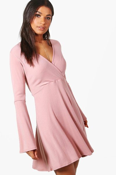 Boohoo Natasha Flare Sleeve Wrap Skater Dress in rose - Nail new season knitwear in the jumpers and cardigans...