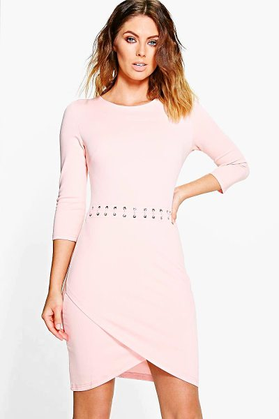 Boohoo Natasha Lace Up Bodycon Dress in nude