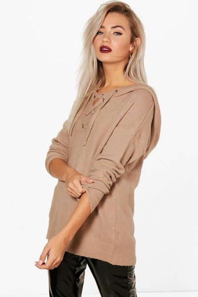 Boohoo Lace Up Soft Knit Jumper in camel - Nail new season knitwear in the jumpers and cardigans...