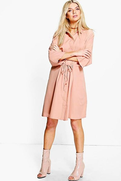 Boohoo Natasha Rouched Waist Utility Shirt Dress in nude - Dresses are the most-wanted wardrobe item for...
