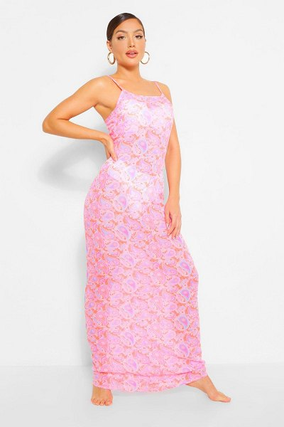 Boohoo Neon Paisley Strappy Maxi Beach Dress in coral