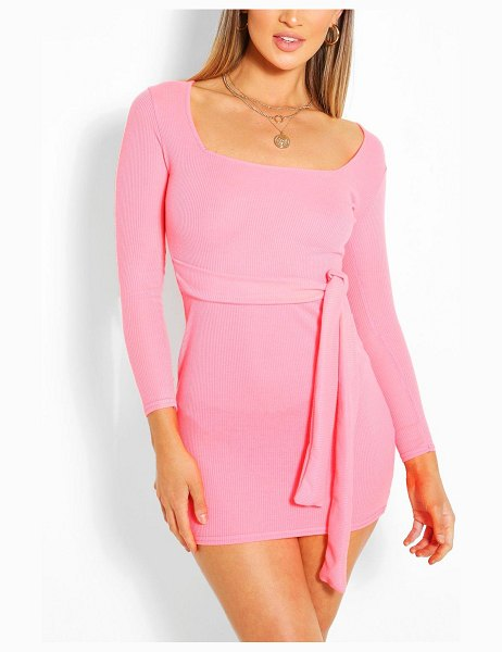 Boohoo Neon Rib Square Neck Belted Bodycon Dress in neon-pink