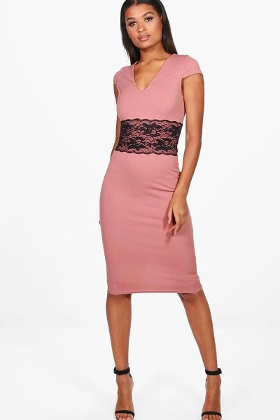 Boohoo Neva Lace Waist Cap Sleeve Midi Dress in rose - Dresses are the most-wanted wardrobe item for...