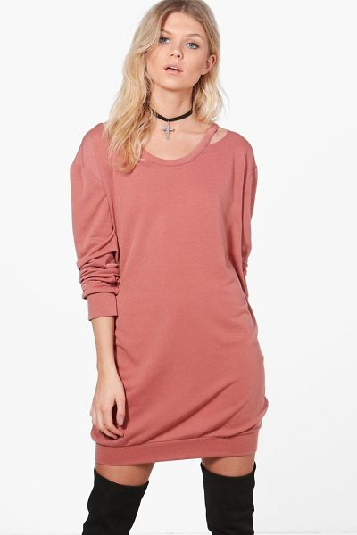 Boohoo Niamh Cut Out Detail Sweat Dress in rose - Dresses are the most-wanted wardrobe item for...