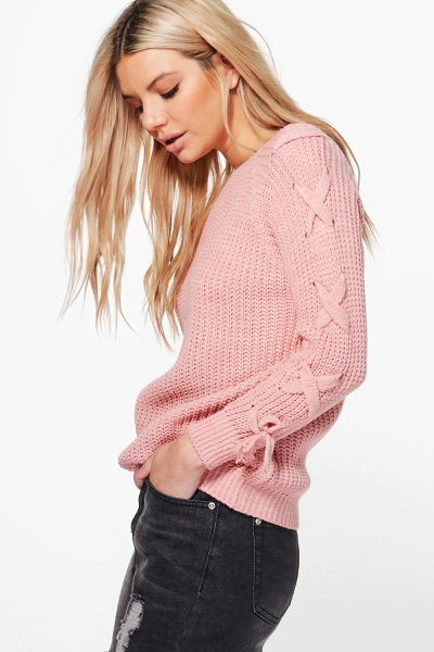 Boohoo Niamh Lace Up Sleeve Jumper in blush - Nail new season knitwear in the jumpers and cardigans...