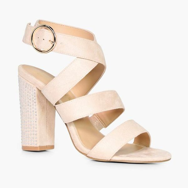 Boohoo Niamh Strappy Sandal With Embellished Heel in nude - We'll make sure your shoes keep you one stylish step...