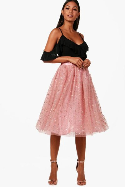 Boohoo Tulle Star Midi Skirt in nude - Skirts are the statement separate in every wardrobe This...