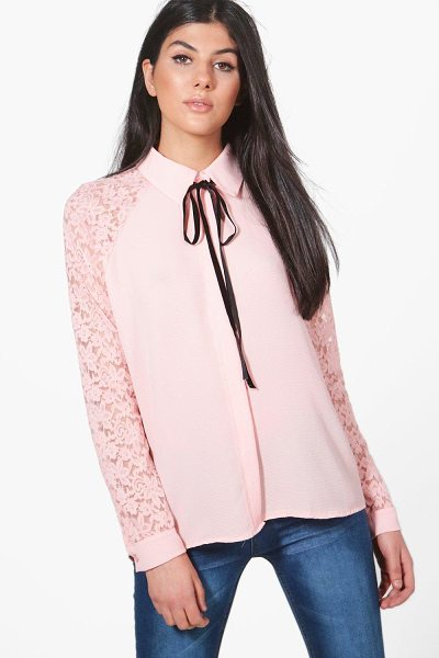 Boohoo Lace Sleeve Woven Shirt in blush - Steal the style top spot in a statement separate from...