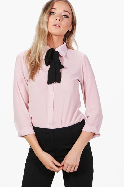 Boohoo Woven Tie Neck Shirt in blush - From day-to-night, season-to-season the shirt is the...