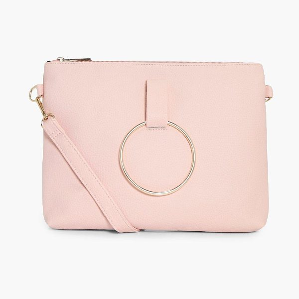 Boohoo Nina Loop Ring Detail Cross Body Bag in tan - Add attitude with accessories for those fashion-forward...