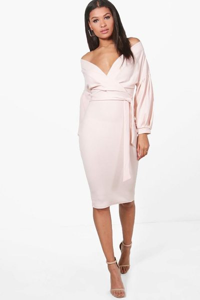 Boohoo Off The Shoulder Wrap Midi Bodycon Dress in blush - Dresses are the most-wanted wardrobe item for...