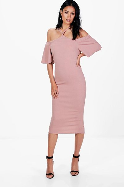 BOOHOO Nina Strappy Cold Shoulder Midi Dress in rose - Nina Strappy Cold Shoulder Midi Dress rose