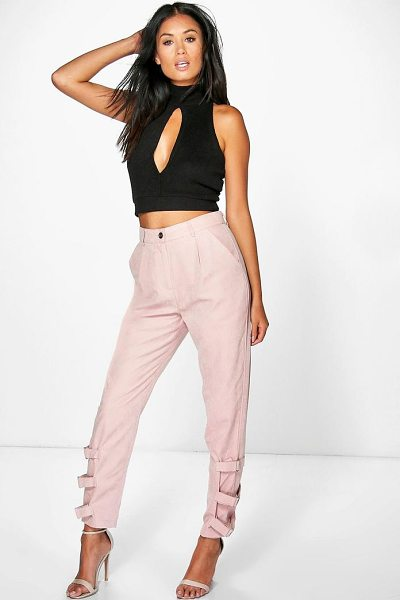 Boohoo Nysa Buckle Ankle Soft Touch Utility Trousers in blush - Trousers are a more sophisticated alternative to...