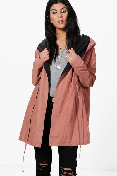 Boohoo Oana Shawl Hood Utility Unlined Parka in rose - Wrap up in the latest coats and jackets and get...