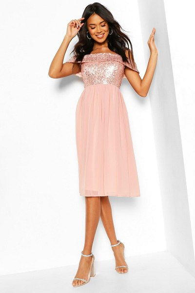 Boohoo Bridesmaid Occasion Sequin Off The Shoulder Midi Dress in blush