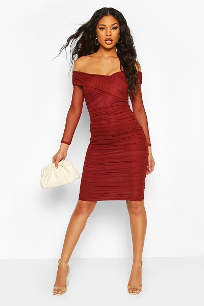 Boohoo Off Shoulder Ruched Mesh Bodycon Midi Dress in chocolate