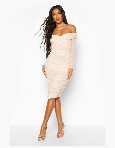 Boohoo Off Shoulder Ruched Mesh Bodycon Midi Dress in nude