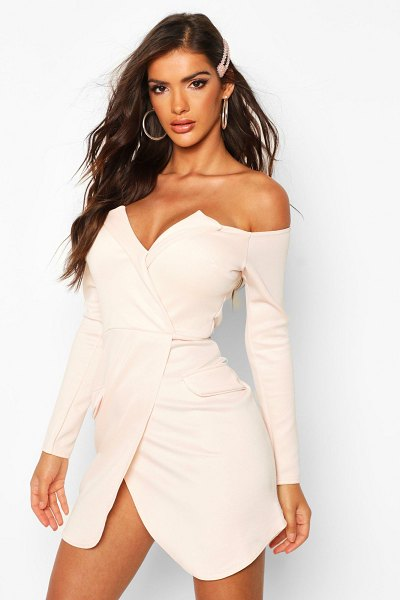 Boohoo Off The Shoulder Blazer Bodycon Dress in nude