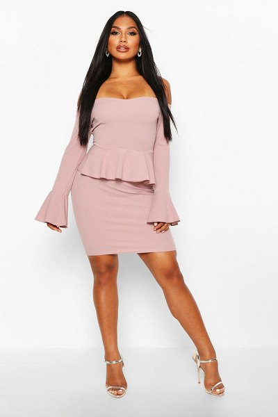 Boohoo Off The Shoulder Peplum Mini Dress in mink