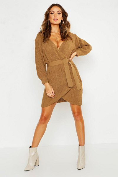 Boohoo Off The Shoulder Wrap Belted Knitted Dress in camel