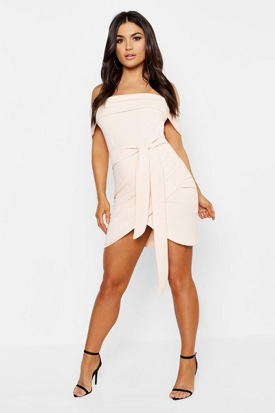 Boohoo Off The Shoulder Wrap Detail Bodycon Dress in blush