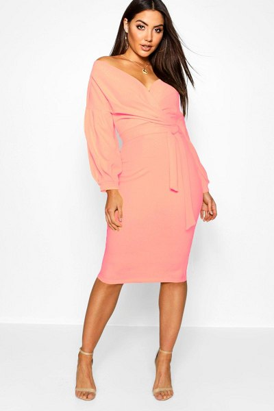 Boohoo Off The Shoulder Wrap Midi Bodycon Dress in coral