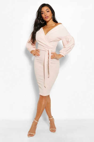 Boohoo Off The Shoulder Wrap Midi Bodycon Dress in stone