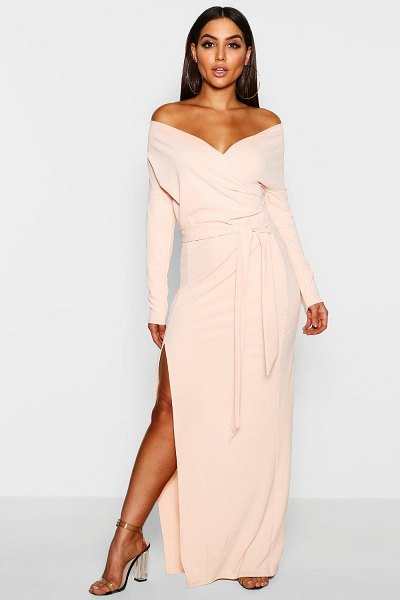 Boohoo Off The Shoulder Wrap Thigh Split Maxi Dress in nude