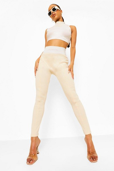 Boohoo Official Thick Ribbed Leggings in stone