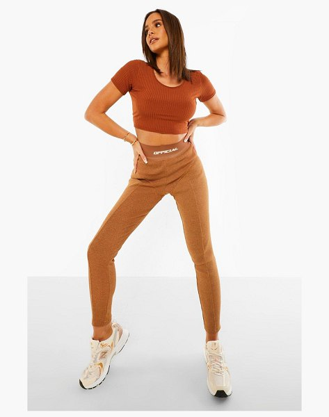 Boohoo Official Thick Ribbed Leggings in chocolate